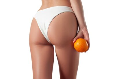 Body care and anti cellulite massage. Perfect female buttocks after massage. Beautiful womans butt in underwear.  Stockfoto