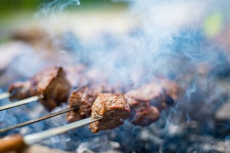 Grilled shish kebab on skewer. Roasted beef meat cooked at barbecue. Traditional eastern dish shashlik. Preparation of meat bbq on grill over charcoal
