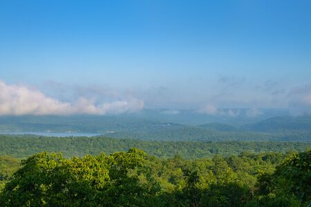 Beautiful nature, forest and mountains. Landscape background layered hills and valleys