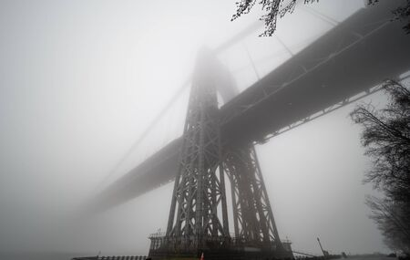 Morning fog. George Washington bridge in a foggy day