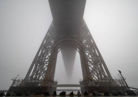 Morning fog. George Washington bridge in a foggy day