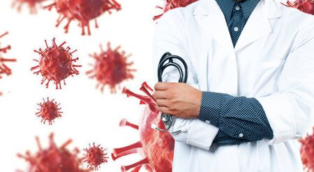 Outbreaking Coronavirus COVID-19. Doctor with a stethoscope in the hands on virus background