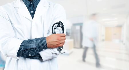 Outbreaking Coronavirus COVID-19. Doctor with a stethoscope in the hospital. Healthcare concept