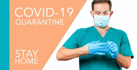 Dangerous respiratory 2019-ncov virus. Doctor in protective mask and gloves. Outbreaking COVID-19. Coronaviruse.
