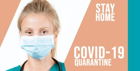 Coronavirus. Young specialist doctor in protective mask is looking at camera. Outbreaking COVID-19 virus and Quarantine concept Stockfoto