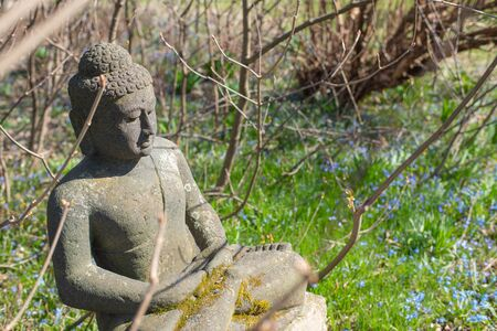 Stone Buddha sculpture in the garden early spring.