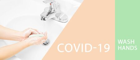 Woman washes her hands with soap in sink. Coronavirus. Covid-19. Wash hands
