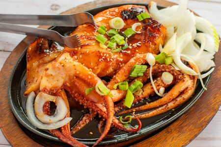 Korean fried squid. Seafood Grilled octopus. Top view.