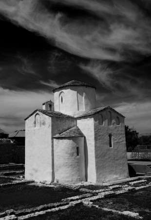 Croatia, city of Nin. This is told to be the worlds smallest cathedral, build in the city Nin in Croatia, around year 800. It was the seat of Bishop Greogory. Nin is a beautiful old and quite small city at the west coast of Croatia. Stock Photo