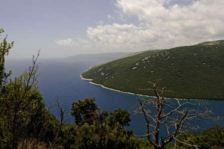 Croatia, the Adriatic sea, seen from the mountains just south of the city Zadar. Stock Photo