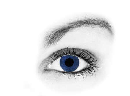 Closeup of one blue eye, isolated on white Stock Photo