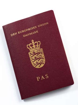 Passport from Denmark, isolated on white Stock Photo