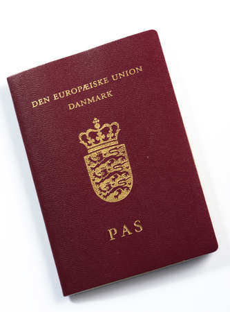 Passport from Denmark, isolated on white Stock Photo