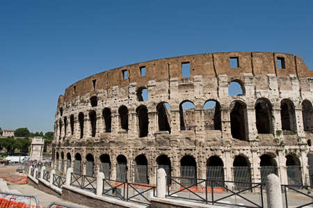 Street view of the ancient roman gladiator dome in teh heart of Rome Stock Photo