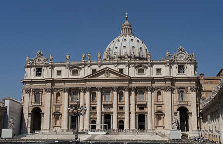 The Sct. Peters Church in Vatical City. in the foreground preparations for at speach by the pope, are being done.