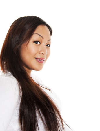 Beautiful asian girl, seen against white background Stock Photo