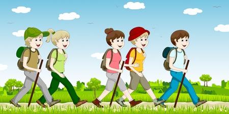 mannen en vrouwen, terwijl uit wandeling Stock Illustratie