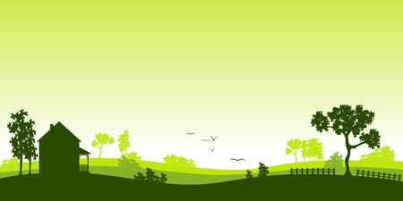 house and tree: green landscape