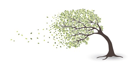 Tree in storm Ilustração