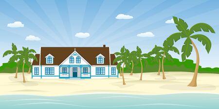 suburb: House on the beach Illustration