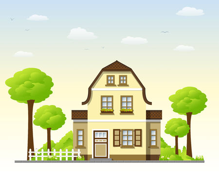 suburb: Very well kept old house Illustration