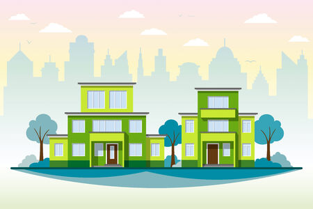 suburb: Modern Architecture Illustration