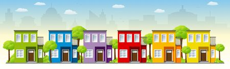 Colorful houses of a city