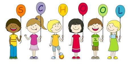 Children with balloons 일러스트