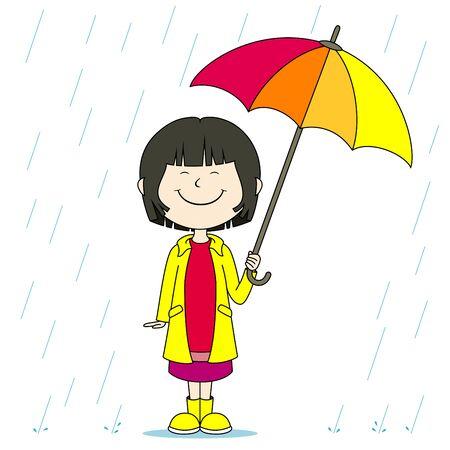 girl in rain: A girl in the rain