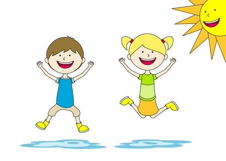 puddle: Two children jump in a puddle
