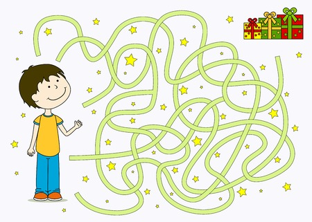 the maze: A medida que el ni�o llega a su regalo Vectores