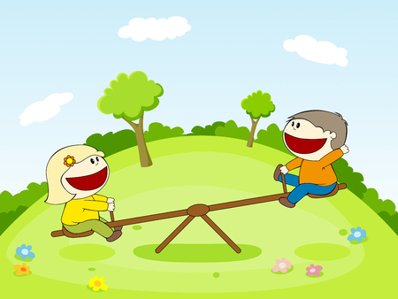 seesaw: Two children on a seesaw