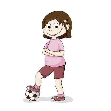 Girls with a football Ilustracja