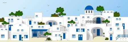 Traditionele Griekse huizen Stock Illustratie
