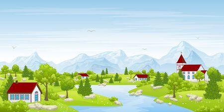 전원시의: 목가적 인 여름 풍경 일러스트