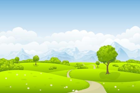 paisaje: En el prado de verano Vectores