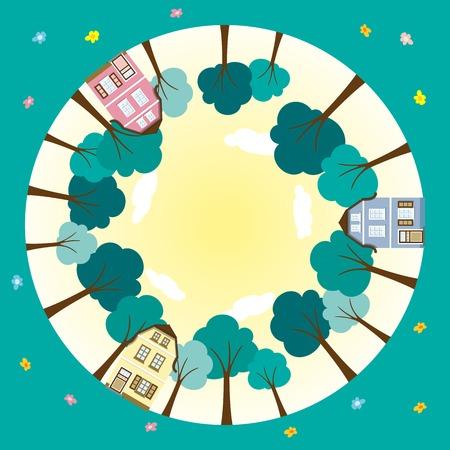 suburbs: Round worlds in the suburbs Illustration