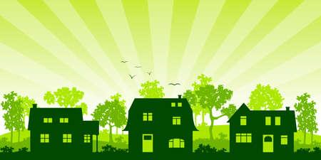suburb: Houses in Sunrise, silhouette