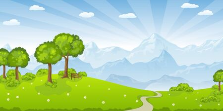 peacefully: Summer landscape with mountains Illustration