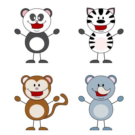 funny animal: Animales divertidos, panda, cebra, mono, rinoceronte