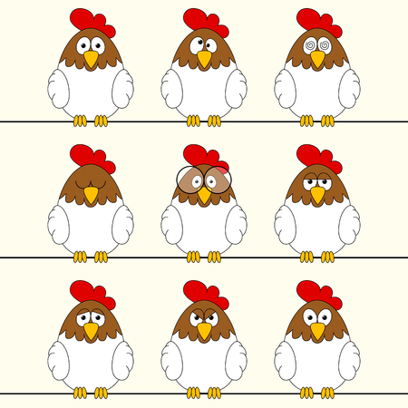 submission: Funny roosters Illustration