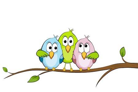 Three funny birds Ilustração