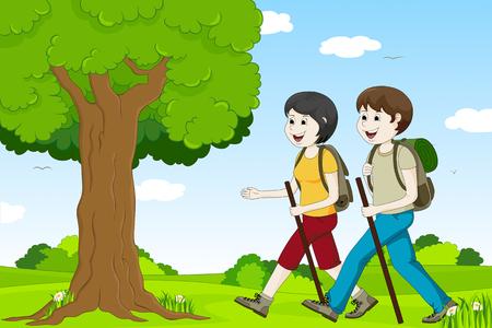 running off: Group hiking Illustration