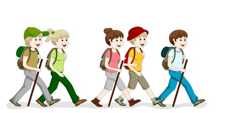 man hiking: Group hiking Illustration