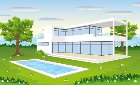 suburban home: Modern house with pool