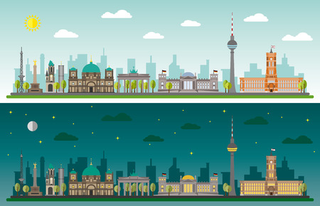 Skyline of Berlin by day and night