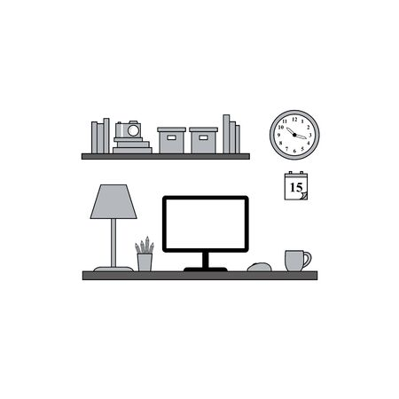 workstation: Home Office Workstation vector flatstyle