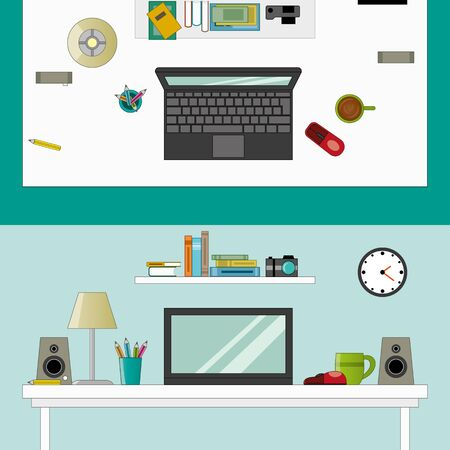 Workplace in room vector flatstyle