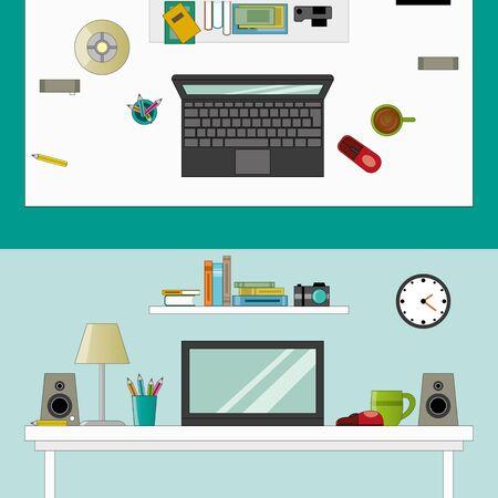 speakers desk: Workplace in room vector flatstyle