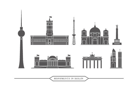 tv tower: Famous monuments and buildings in Berlin Vector Icon Set